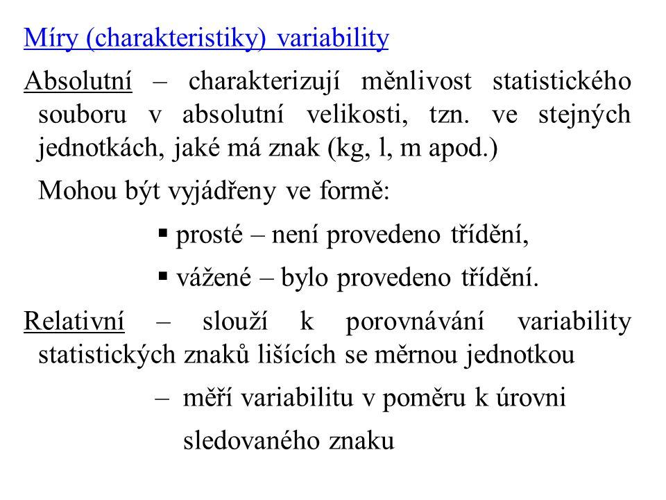 Míry (charakteristiky) variability Absolutní – charakterizují měnlivost statistického souboru v absolutní velikosti, tzn.