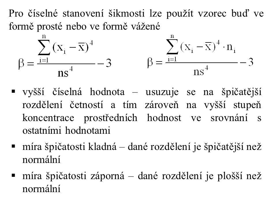 Pro číselné stanovení šikmosti lze použít vzorec buď ve formě prosté nebo ve formě vážené  vyšší číselná hodnota – usuzuje se na špičatější rozdělení četností a tím zároveň na vyšší stupeň koncentrace prostředních hodnost ve srovnání s ostatními hodnotami  míra špičatosti kladná – dané rozdělení je špičatější než normální  míra špičatosti záporná – dané rozdělení je plošší než normální