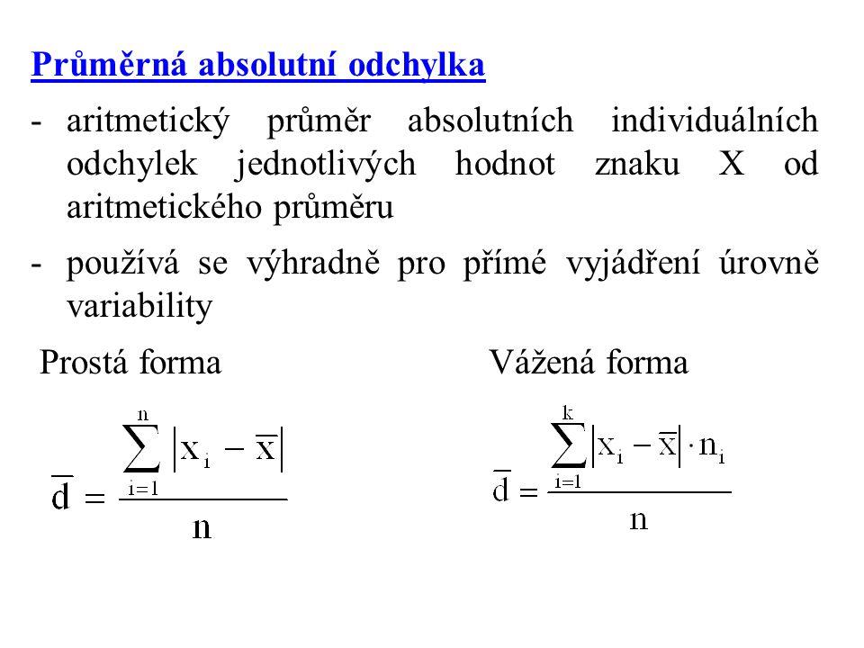 Průměrná absolutní odchylka -aritmetický průměr absolutních individuálních odchylek jednotlivých hodnot znaku X od aritmetického průměru -používá se výhradně pro přímé vyjádření úrovně variability Prostá forma Vážená forma