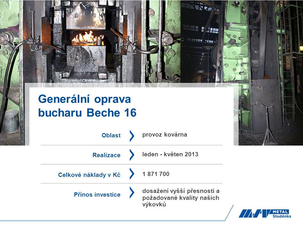 Generální oprava bucharu Beche 16 Oblast Realizace Celkové náklady v Kč Přínos investice provoz kovárna leden - květen 2013 1 871 700 dosažení vyšší p