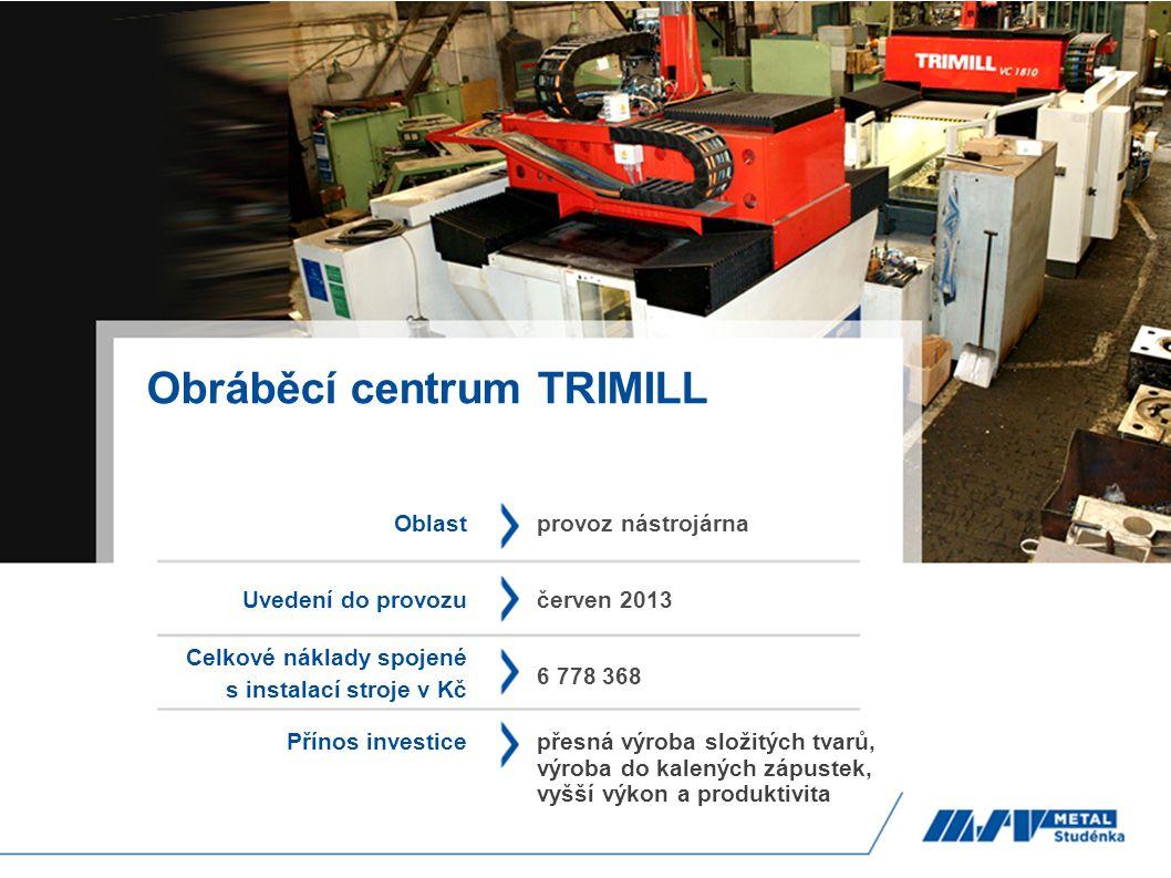 Obráběcí centrum TRIMILL provoz nástrojárna červen 2013 6 778 368 přesná výroba složitých tvarů, výroba do kalených zápustek, vyšší výkon a produktivita Oblast Uvedení do provozu Celkové náklady spojené s instalací stroje v Kč Přínos investice