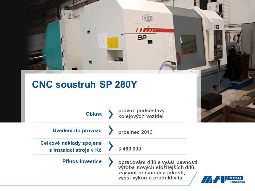 CNC soustruh SP 280Y Oblast Uvedení do provozu Celkové náklady spojené s instalací stroje v Kč Přínos investice provoz podsestavy kolejových vozidel p