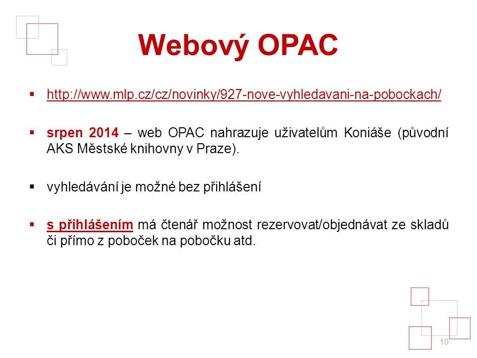 Webový OPAC  http://www.mlp.cz/cz/novinky/927-nove-vyhledavani-na-pobockach/ http://www.mlp.cz/cz/novinky/927-nove-vyhledavani-na-pobockach/  srpen 2014 – web OPAC nahrazuje uživatelům Koniáše (původní AKS Městské knihovny v Praze).