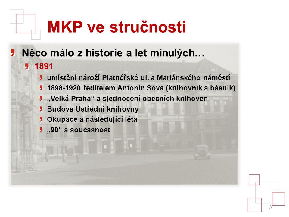 MKP ve stručnosti Něco málo z historie a let minulých… 1891 umístění nároží Platnéřské ul.
