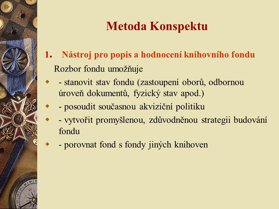 Metoda Konspektu 1. Nástroj pro popis a hodnocení knihovního fondu Rozbor fondu umožňuje  - stanovit stav fondu (zastoupení oborů, odbornou úroveň do