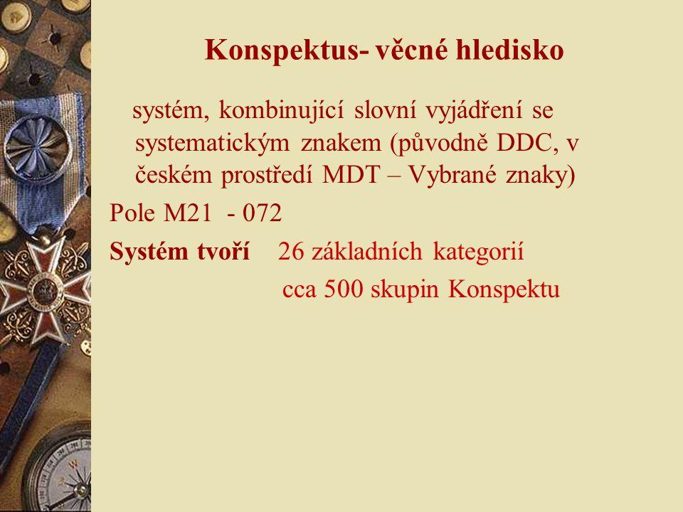 Konspektus- věcné hledisko systém, kombinující slovní vyjádření se systematickým znakem (původně DDC, v českém prostředí MDT – Vybrané znaky) Pole M21