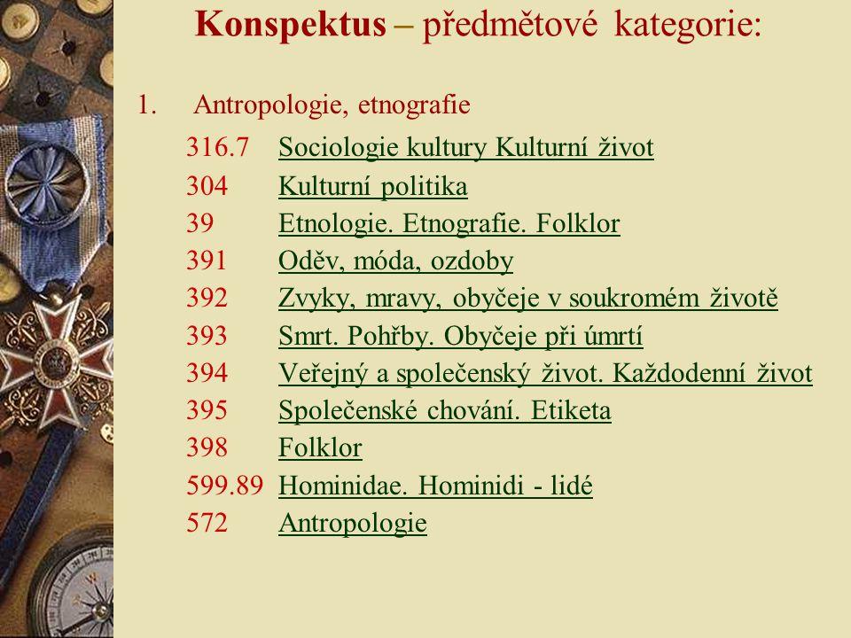 Konspektus – předmětové kategorie: 1.Antropologie, etnografie 316.7 Sociologie kultury Kulturní životSociologie kultury Kulturní život 304 Kulturní politikaKulturní politika 39 Etnologie.