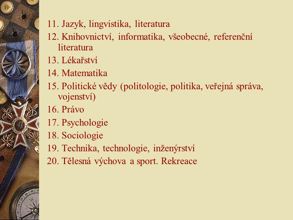11. Jazyk, lingvistika, literatura 12. Knihovnictví, informatika, všeobecné, referenční literatura 13. Lékařství 14. Matematika 15. Politické vědy (po