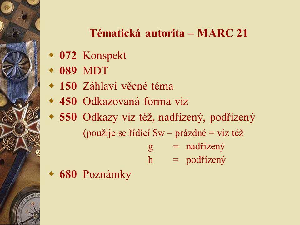 Tématická zpřesnění  Autorita se stejnou strukturou jako základní věcné téma  Doplněno poznámkou v poli 680 o použití termínu  Jako zpřesnění může být použit pouze ten věcný termín, který je vymezen poznámkou  http://autority.nkp.cz/vecne-autority/soubor-tematickych- autorit/tematicka-zpresneni/ http://autority.nkp.cz/vecne-autority/soubor-tematickych- autorit/tematicka-zpresneni/