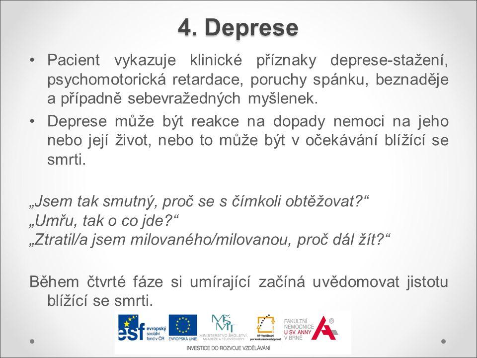 Pacient vykazuje klinické příznaky deprese-stažení, psychomotorická retardace, poruchy spánku, beznaděje a případně sebevražedných myšlenek. Deprese m
