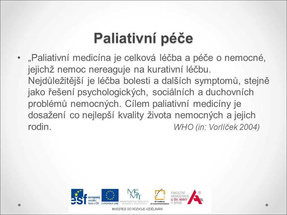 """Paliativní péče """"Paliativní medicína je celková léčba a péče o nemocné, jejichž nemoc nereaguje na kurativní léčbu. Nejdůležitější je léčba bolesti a"""