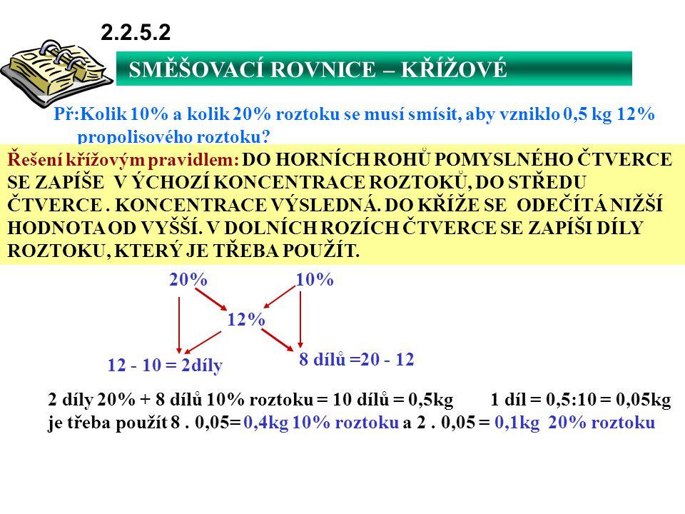 SMĚŠOVACÍ ROVNICE – KŘÍŽOVÉ PRAVIDLO 2.2.5.2 Př:Kolik 10% a kolik 20% roztoku se musí smísit, aby vzniklo 0,5 kg 12% propolisového roztoku? Řešení kří