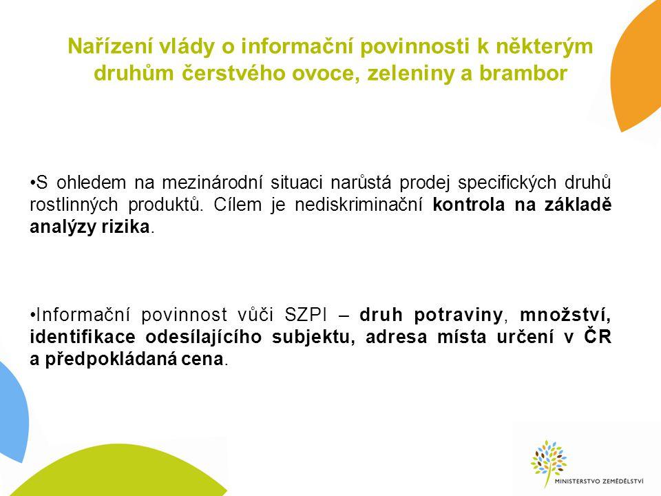 Nařízení vlády o informační povinnosti k některým druhům čerstvého ovoce, zeleniny a brambor S ohledem na mezinárodní situaci narůstá prodej specifick