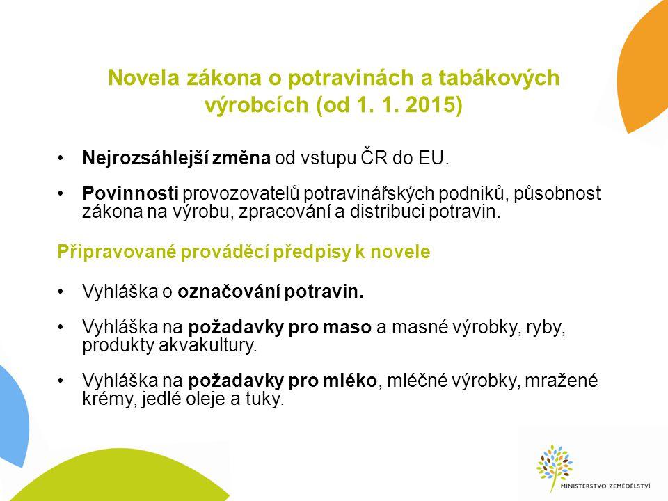 Novela zákona o potravinách a tabákových výrobcích (od 1. 1. 2015) Nejrozsáhlejší změna od vstupu ČR do EU. Povinnosti provozovatelů potravinářských p
