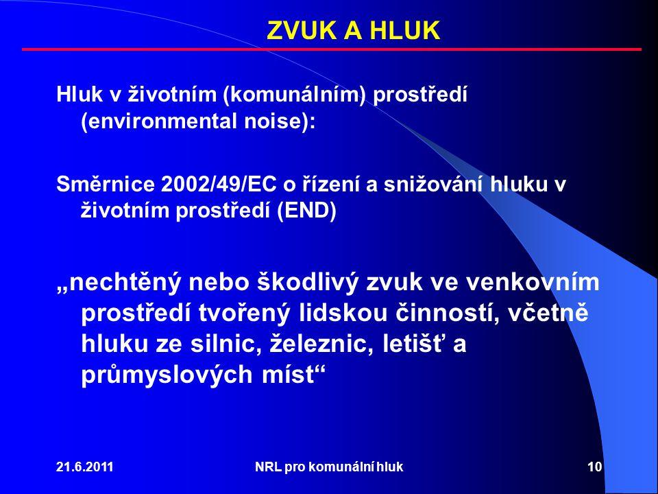 """21.6.2011NRL pro komunální hluk10 Hluk v životním (komunálním) prostředí (environmental noise): Směrnice 2002/49/EC o řízení a snižování hluku v životním prostředí (END) """"nechtěný nebo škodlivý zvuk ve venkovním prostředí tvořený lidskou činností, včetně hluku ze silnic, železnic, letišť a průmyslových míst ZVUK A HLUK"""