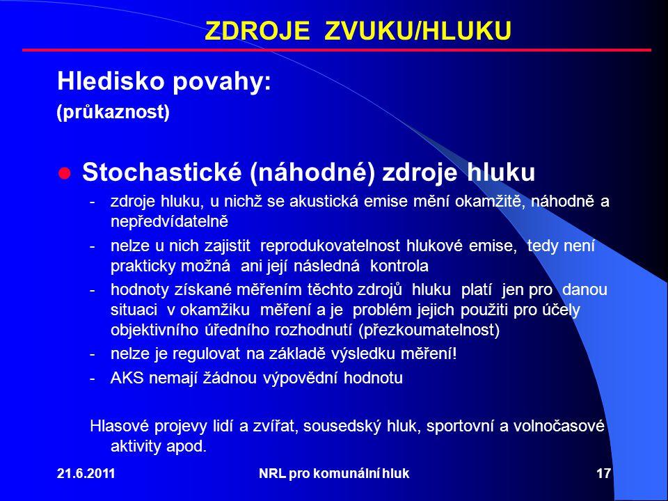 21.6.2011NRL pro komunální hluk17 Hledisko povahy: (průkaznost) Stochastické (náhodné) zdroje hluku - zdroje hluku, u nichž se akustická emise mění okamžitě, náhodně a nepředvídatelně - nelze u nich zajistit reprodukovatelnost hlukové emise, tedy není prakticky možná ani její následná kontrola - hodnoty získané měřením těchto zdrojů hluku platí jen pro danou situaci v okamžiku měření a je problém jejich použiti pro účely objektivního úředního rozhodnutí (přezkoumatelnost) - nelze je regulovat na základě výsledku měření.