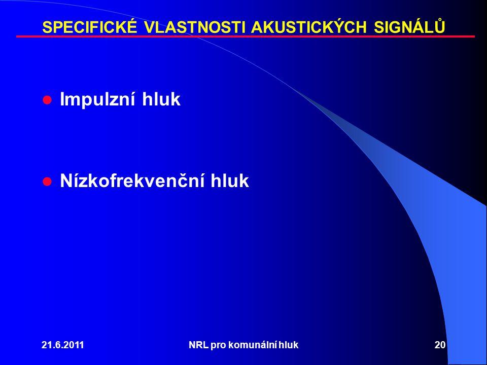 SPECIFICKÉ VLASTNOSTI AKUSTICKÝCH SIGNÁLŮ Impulzní hluk Nízkofrekvenční hluk 21.6.2011NRL pro komunální hluk20