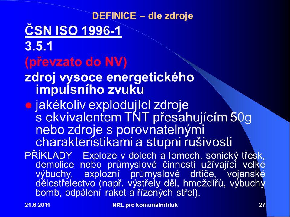 DEFINICE – dle zdroje ČSN ISO 1996-1 3.5.1 (převzato do NV) zdroj vysoce energetického impulsního zvuku jakékoliv explodující zdroje s ekvivalentem TNT přesahujícím 50g nebo zdroje s porovnatelnými charakteristikami a stupni rušivosti PŘÍKLADYExploze v dolech a lomech, sonický třesk, demolice nebo průmyslové činnosti užívající velké výbuchy, explozní průmyslové drtiče, vojenské dělostřelectvo (např.