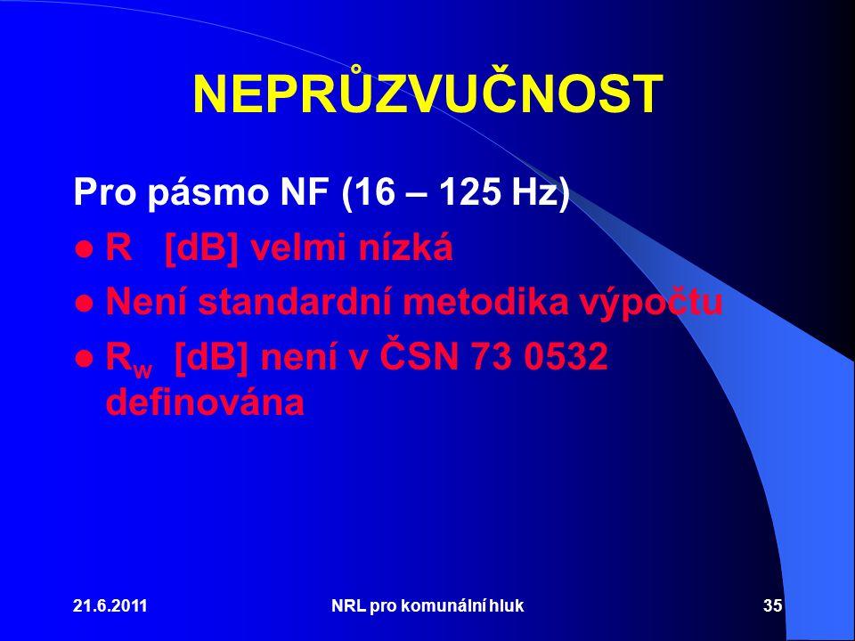 21.6.2011NRL pro komunální hluk35 NEPRŮZVUČNOST Pro pásmo NF (16 – 125 Hz) R [dB] velmi nízká Není standardní metodika výpočtu R w [dB] není v ČSN 73