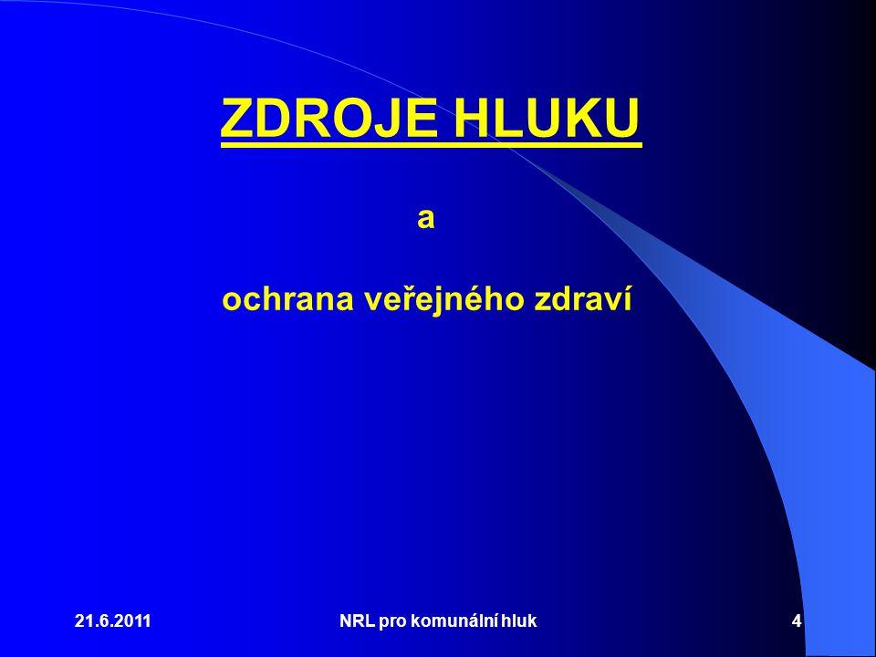 21.6.2011NRL pro komunální hluk4 a ochrana veřejného zdraví ZDROJE HLUKU