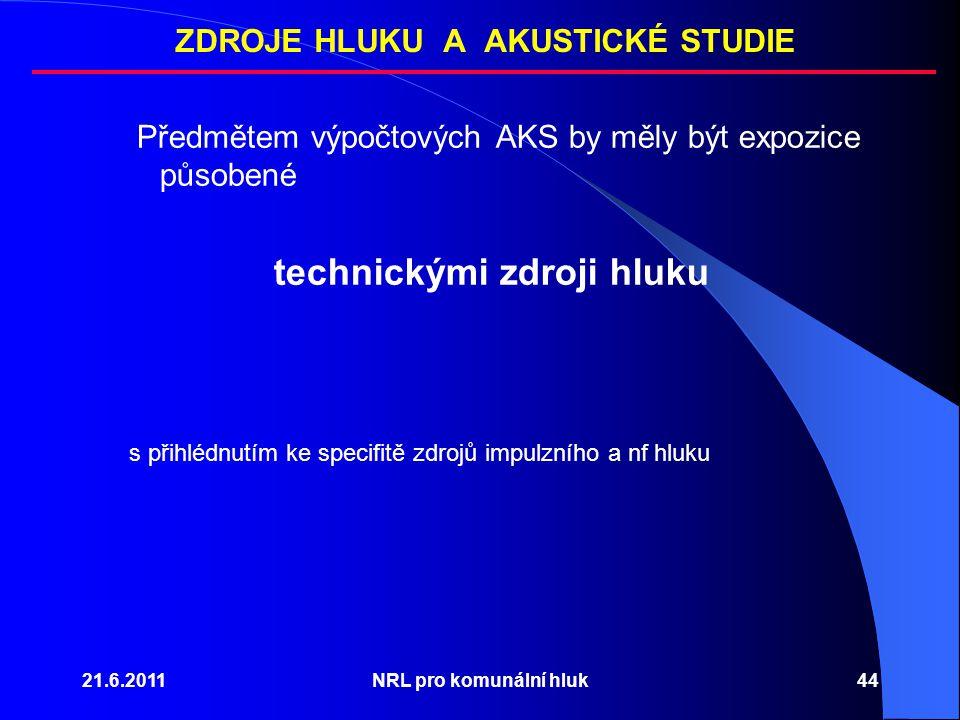 21.6.2011NRL pro komunální hluk44 Předmětem výpočtových AKS by měly být expozice působené technickými zdroji hluku s přihlédnutím ke specifitě zdrojů impulzního a nf hluku ZDROJE HLUKU A AKUSTICKÉ STUDIE