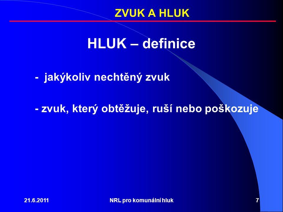 21.6.2011NRL pro komunální hluk7 HLUK – definice - jakýkoliv nechtěný zvuk - zvuk, který obtěžuje, ruší nebo poškozuje ZVUK A HLUK