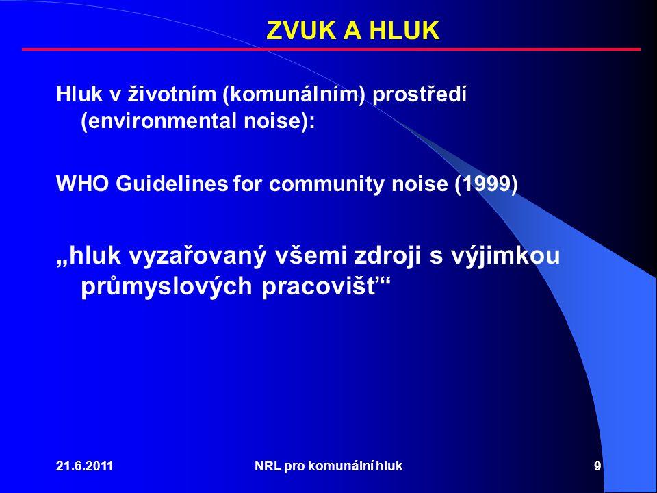 """21.6.2011NRL pro komunální hluk9 Hluk v životním (komunálním) prostředí (environmental noise): WHO Guidelines for community noise (1999) """"hluk vyzařovaný všemi zdroji s výjimkou průmyslových pracovišť ZVUK A HLUK"""