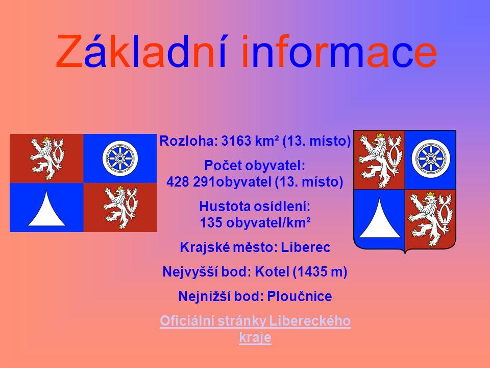 Základní informace Rozloha: 3163 km² (13. místo) Počet obyvatel: 428 291obyvatel (13. místo) Hustota osídlení: 135 obyvatel/km² Krajské město: Liberec