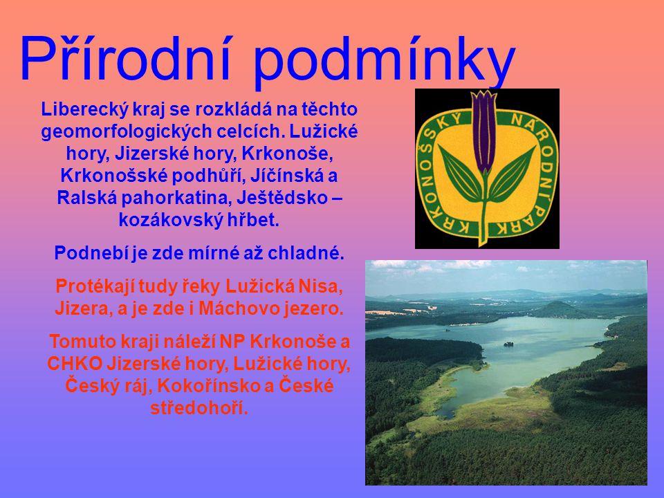 Přírodní podmínky Liberecký kraj se rozkládá na těchto geomorfologických celcích. Lužické hory, Jizerské hory, Krkonoše, Krkonošské podhůří, Jíčínská