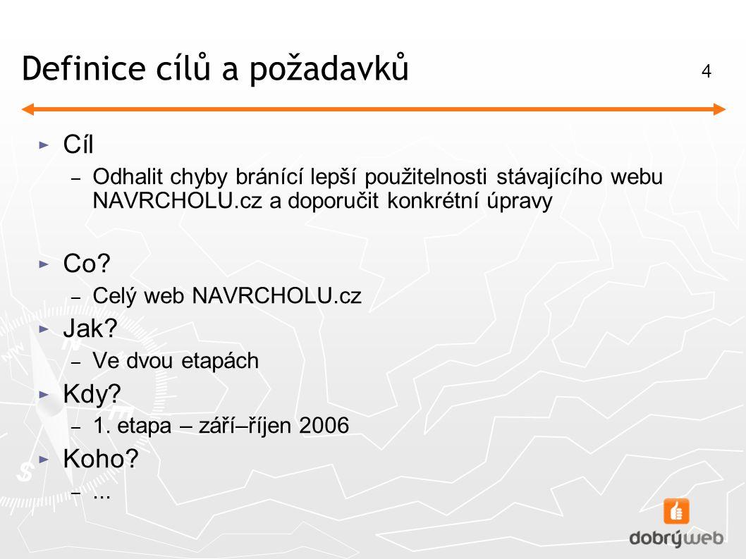 4 Definice cílů a požadavků ► Cíl – Odhalit chyby bránící lepší použitelnosti stávajícího webu NAVRCHOLU.cz a doporučit konkrétní úpravy ► Co.