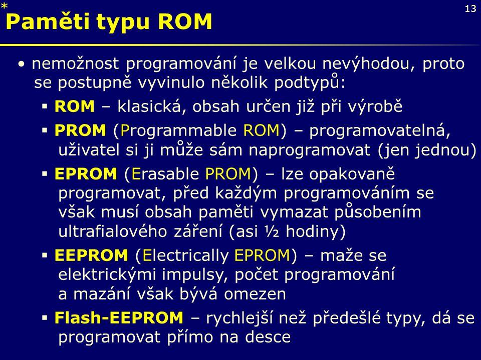 13 nemožnost programování je velkou nevýhodou, proto se postupně vyvinulo několik podtypů:  ROM – klasická, obsah určen již při výrobě  PROM (Progra