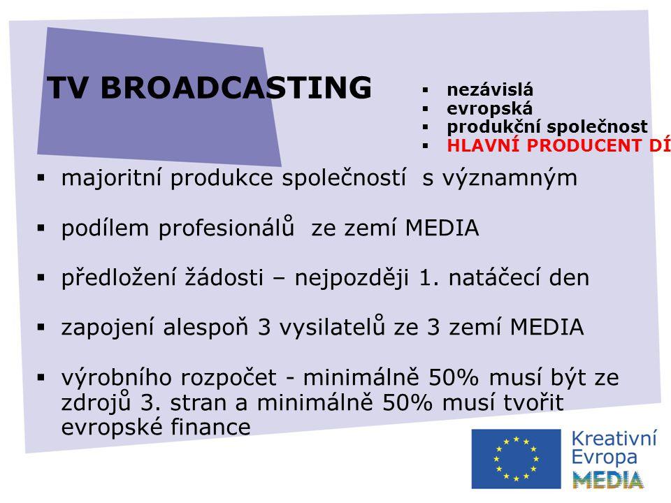 TV BROADCASTING  majoritní produkce společností s významným  podílem profesionálů ze zemí MEDIA  předložení žádosti – nejpozději 1.