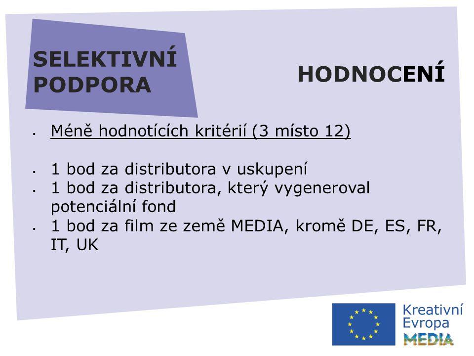 SELEKTIVNÍ PODPORA  Méně hodnotících kritérií (3 místo 12)  1 bod za distributora v uskupení  1 bod za distributora, který vygeneroval potenciální fond  1 bod za film ze země MEDIA, kromě DE, ES, FR, IT, UK HODNOCENÍ