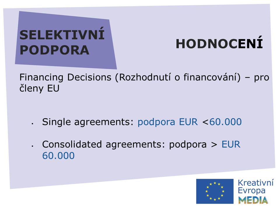 SELEKTIVNÍ PODPORA Financing Decisions (Rozhodnutí o financování) – pro členy EU  Single agreements: podpora EUR <60.000  Consolidated agreements: podpora > EUR 60.000 HODNOCENÍ