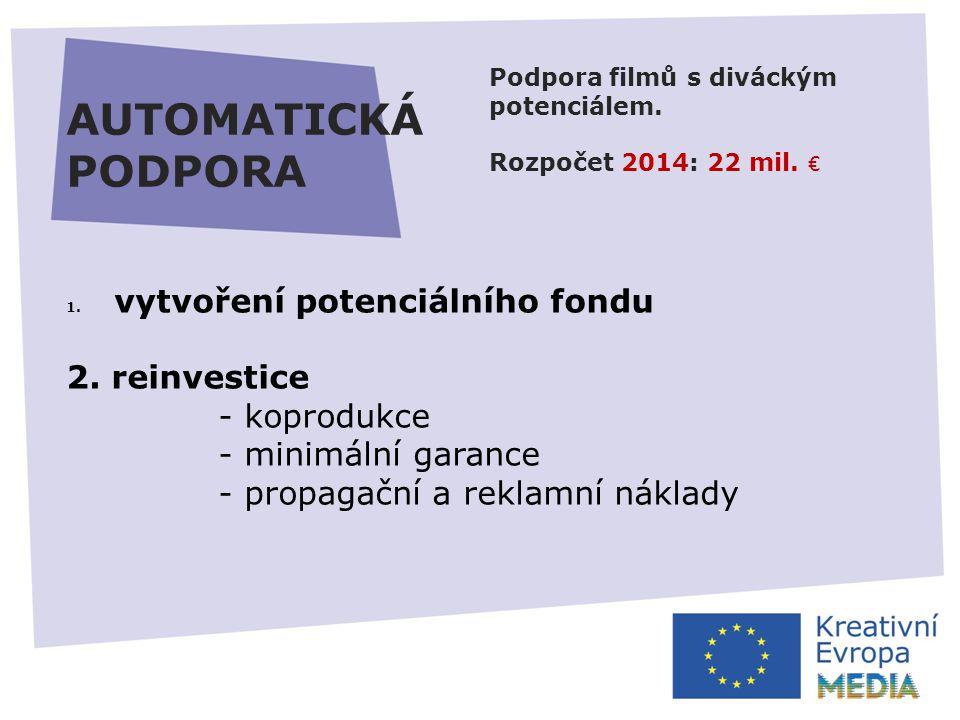 AUTOMATICKÁ PODPORA Podpora filmů s diváckým potenciálem.