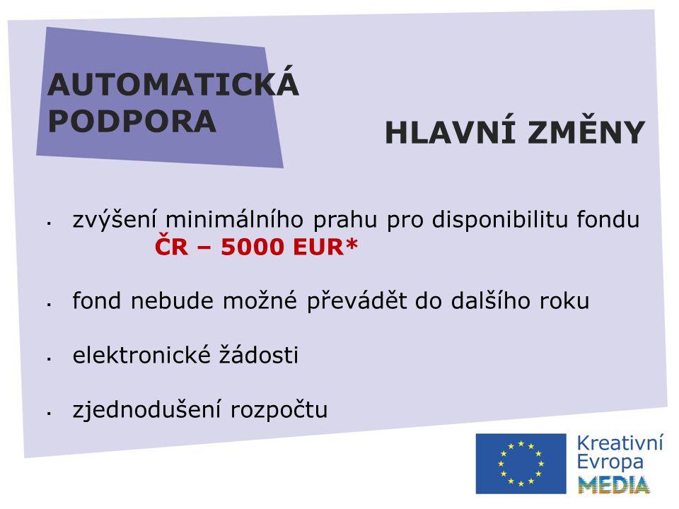 AUTOMATICKÁ PODPORA  zvýšení minimálního prahu pro disponibilitu fondu ČR – 5000 EUR*  fond nebude možné převádět do dalšího roku  elektronické žádosti  zjednodušení rozpočtu HLAVNÍ ZMĚNY