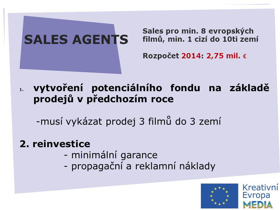 AUTOMATICKÁ PODPORA  zvýšení minimálního prahu pro disponibilitu fondu ČR – 5000 EUR*  fond nebude možné převádět do dalšího roku  elektronické žádosti  zjednodušení rozpočtu Výzva prosinec 2013* Uzávěrka březen 2014* HLAVNÍ ZMĚNY SALES AGENTS 1.