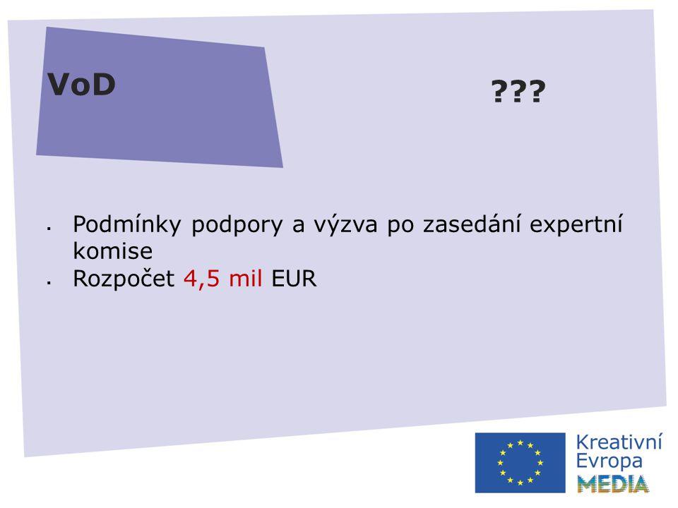 VoD  Podmínky podpory a výzva po zasedání expertní komise  Rozpočet 4,5 mil EUR