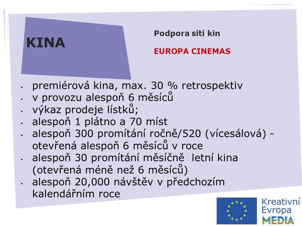 AUTOMATICKÁ PODPORA  zvýšení minimálního prahu pro disponibilitu fondu ČR – 5000 EUR*  fond nebude možné převádět do dalšího roku  elektronické žádosti  zjednodušení rozpočtu Výzva prosinec 2013* Uzávěrka březen 2014* HLAVNÍ ZMĚNY KINA  premiérová kina, max.