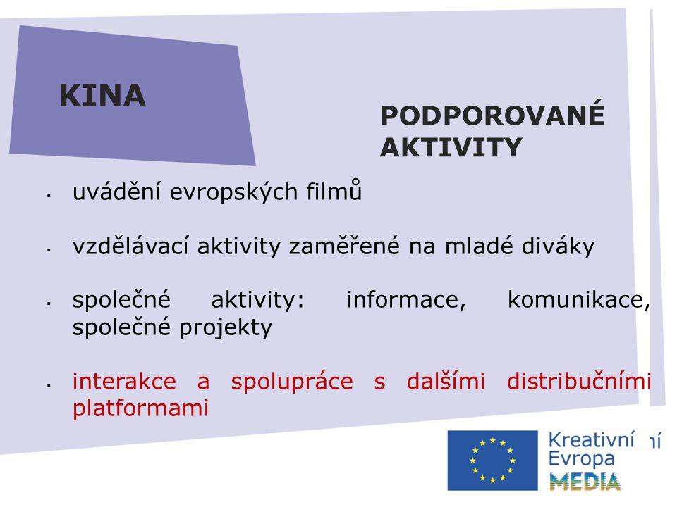 AUTOMATICKÁ PODPORA  zvýšení minimálního prahu pro disponibilitu fondu ČR – 5000 EUR*  fond nebude možné převádět do dalšího roku  elektronické žádosti  zjednodušení rozpočtu Výzva prosinec 2013* Uzávěrka březen 2014* HLAVNÍ ZMĚNY KINA  uvádění evropských filmů  vzdělávací aktivity zaměřené na mladé diváky  společné aktivity: informace, komunikace, společné projekty  interakce a spolupráce s dalšími distribučními platformami PODPOROVANÉ AKTIVITY