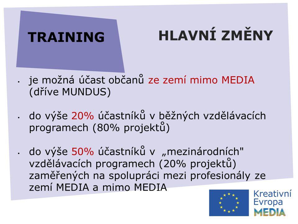 """HLAVNÍ ZMĚNY  je možná účast občanů ze zemí mimo MEDIA (dříve MUNDUS)  do výše 20% účastníků v běžných vzdělávacích programech (80% projektů)  do výše 50% účastníků v """"mezinárodních vzdělávacích programech (20% projektů) zaměřených na spolupráci mezi profesionály ze zemí MEDIA a mimo MEDIA TRAINING"""