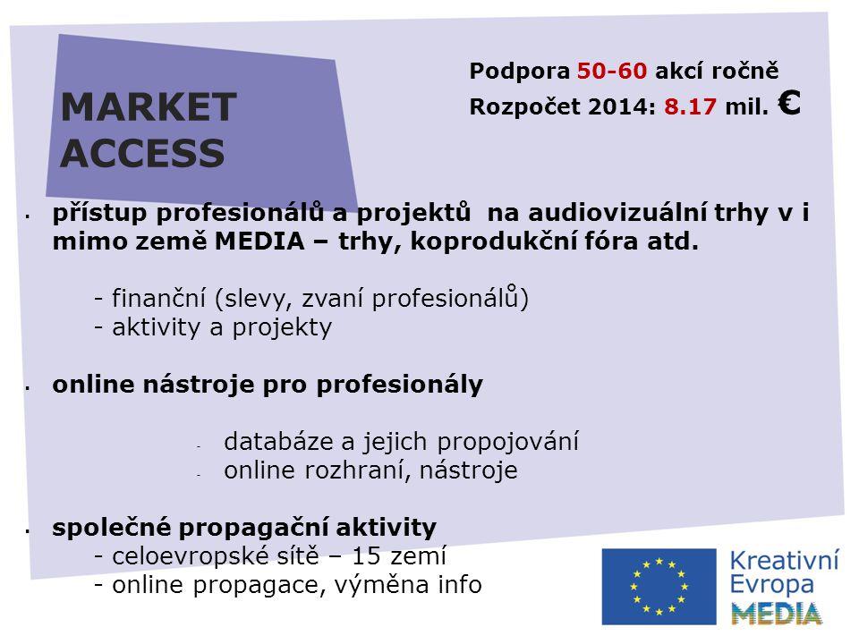 MARKET ACCESS Podpora 50-60 akcí ročně Rozpočet 2014: 8.17 mil.