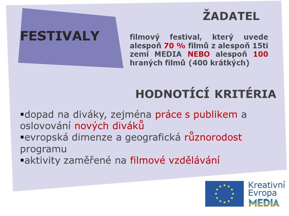 FESTIVALY HODNOTÍCÍ KRITÉRIA  dopad na diváky, zejména práce s publikem a oslovování nových diváků  evropská dimenze a geografická různorodost programu  aktivity zaměřené na filmové vzdělávání ŽADATEL filmový festival, který uvede alespoň 70 % filmů z alespoň 15ti zemí MEDIA NEBO alespoň 100 hraných filmů (400 krátkých)