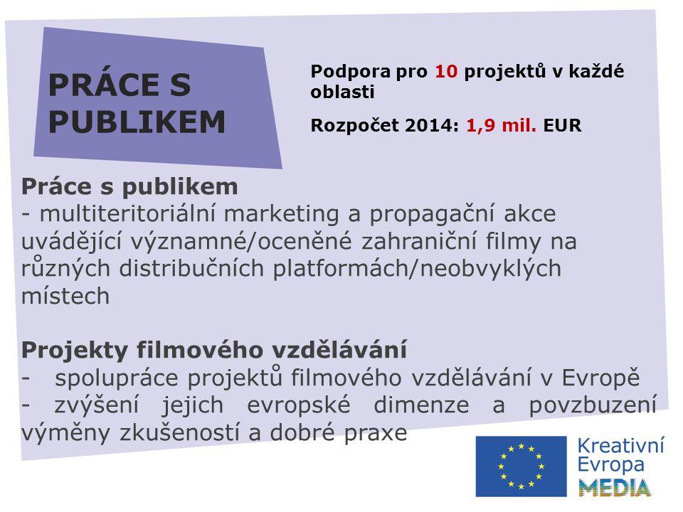 PRÁCE S PUBLIKEM Práce s publikem - multiteritoriální marketing a propagační akce uvádějící významné/oceněné zahraniční filmy na různých distribučních platformách/neobvyklých místech Projekty filmového vzdělávání - spolupráce projektů filmového vzdělávání v Evropě - zvýšení jejich evropské dimenze a povzbuzení výměny zkušeností a dobré praxe Podpora pro 10 projektů v každé oblasti Rozpočet 2014: 1,9 mil.