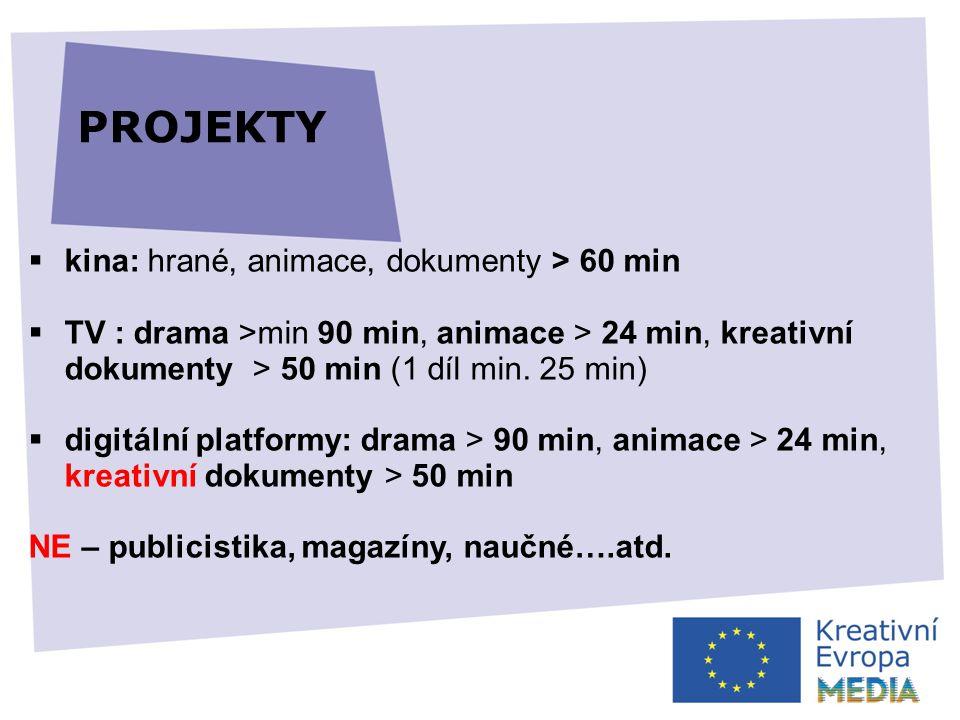  kina: hrané, animace, dokumenty > 60 min  TV : drama >min 90 min, animace > 24 min, kreativní dokumenty > 50 min (1 díl min.