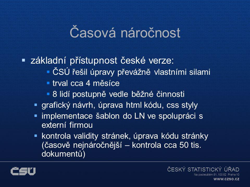 ČESKÝ STATISTICKÝ ÚŘAD Na padesátém 81, 100 82 Praha 10 www.czso.cz Časová náročnost  základní přístupnost české verze:  ČSÚ řešil úpravy převážně v