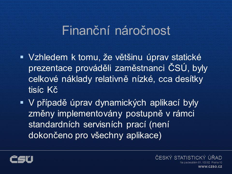 ČESKÝ STATISTICKÝ ÚŘAD Na padesátém 81, 100 82 Praha 10 www.czso.cz Finanční náročnost  Vzhledem k tomu, že většinu úprav statické prezentace provádě