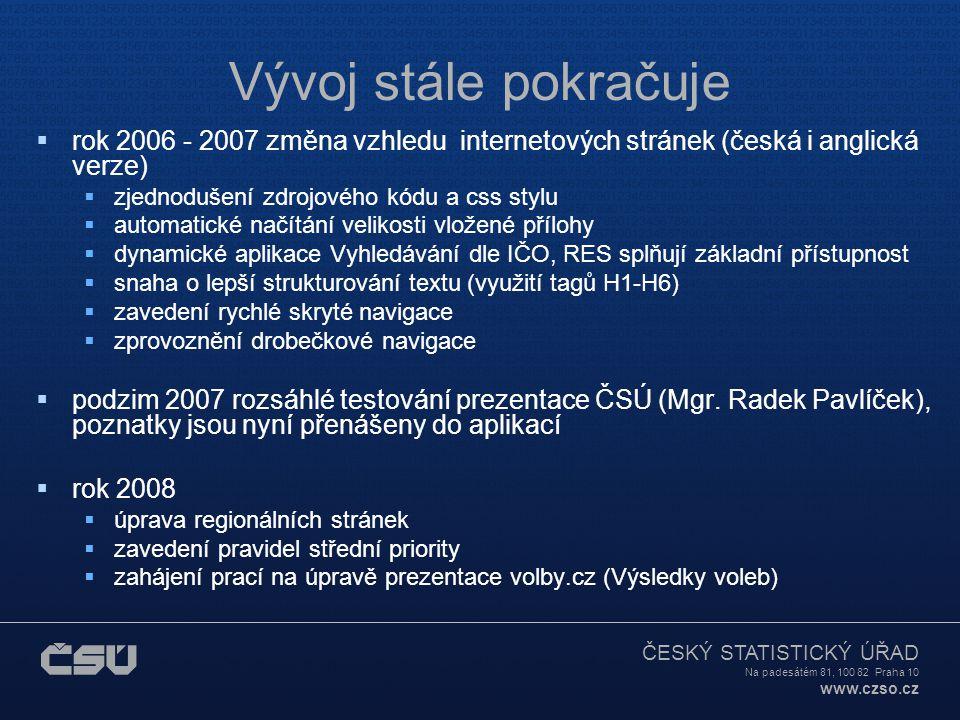 ČESKÝ STATISTICKÝ ÚŘAD Na padesátém 81, 100 82 Praha 10 www.czso.cz Vývoj stále pokračuje  rok 2006 - 2007 změna vzhledu internetových stránek (česká