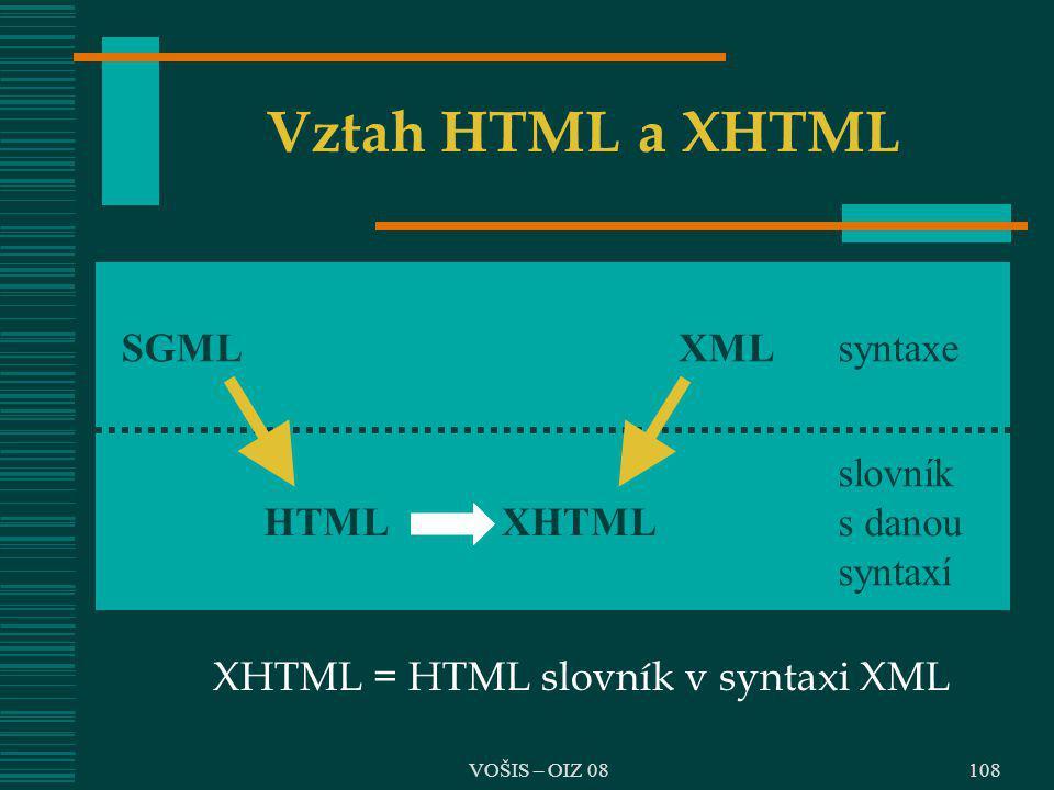 VOŠIS – OIZ 08 Vztah HTML a XHTML XHTML = HTML slovník v syntaxi XML SGMLXMLsyntaxe HTMLXHTML slovník s danou syntaxí 108