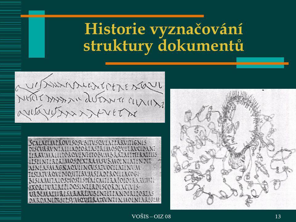 VOŠIS – OIZ 0813 Historie vyznačování struktury dokumentů